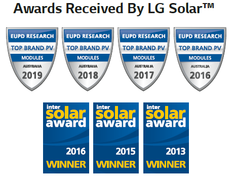 Awards Received by LG for solar panel
