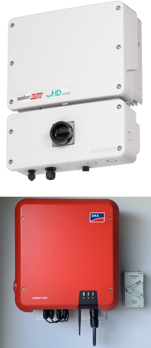 Image showing a SolarEdge Genesis inverter and an installed SMA inverter